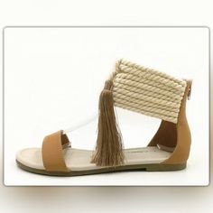 5-Star Rated! Rope And Tassel Tan Sandals