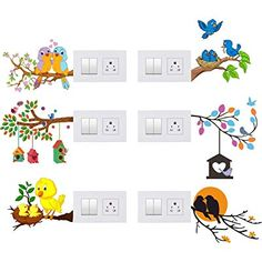 Asmi Collections Panel Stickers For Light Switches - Set Of 4 Simple Wall Paintings, Creative Wall Painting, Creative Wall Decor, Wall Painting Decor, Creative Walls, Diy Wall Decor, Home Decor Wall Art, Diy Painting, Wall Art Designs