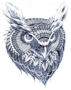Ornate Owl Head by BioWorkZ on DeviantArt