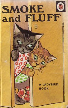 """""""Mrs Cat was busy knitting, didn't notice soon enough, kittens underneath the table.saucy Smoke and frisky Fluff.""""my sister loved it! Vintage Children's Books, Vintage Cat, Vintage Drawing, My Childhood Memories, Childhood Toys, 1970s Childhood, Ladybird Books, Children's Book Illustration, Book Illustrations"""