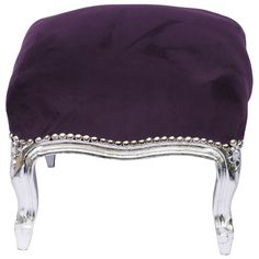 Foot Stool Baroque style, silver-leafed, purple french | Antiques, Furniture, Chairs | eBay!