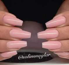 Soft pink tapered square nails