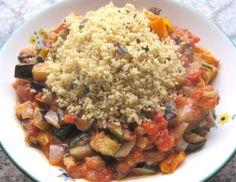 Gegrillte Gemüsesauce mit Basilikum-Couscous
