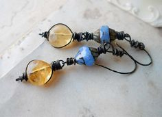 Beaded  Earrings  Citrine and Czech Glass  Blue by shipwreckdandy, $29.00