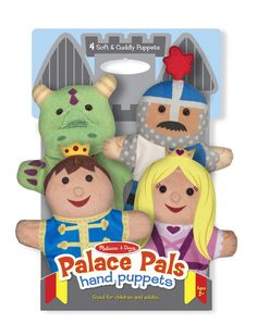 This four-piece hand-puppet set includes a royal collection of characters! Designed to help children and caregivers role-play together in a sweet and simple way, the prince, princess, knight, and dragon are sure to inspire countless creative stories and amazing imaginary adventures. The simple glove puppets fit children and adults and are easy to use, so even the littlest puppeteers can see exciting movement with very little skill.