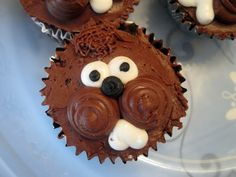"Chocolate ""groundhog"" cupcakes with lots of frosting cheeks and hair"