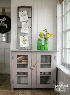Sunbleached Barn Wood Style Primitive Cupboard with Chicken Wire Doors ~ Rustic Farmhouse Cottage Style Decor