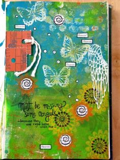 art journal page I love the tied tag on the upper right corner