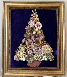 KEEPSAKE VTG FRAMED RHINESTONE JEWELRY CHRISTMAS TREE SHABBY CHIC STYLE