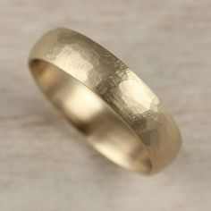Stone Texture Hand-carved Classic Band, Men's Wedding Bands - Aide-mémoire Jewelry | Simple Minimal Handmade Rustic Wedding Band