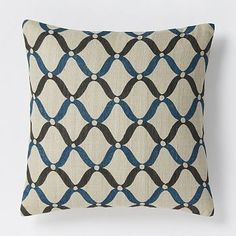 Hand-Blocked Ogee Pillow Cover – Blue Lagoon #westelm