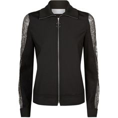 Escada Sport Lace Sleeve Neoprene Jacket (1.625 BRL) ❤ liked on Polyvore featuring outerwear, jackets, floral bomber jacket, bomber style jacket, flower print jacket, flight jacket and polartec jacket
