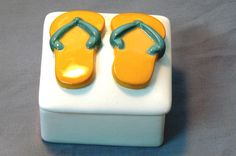 Ceramic Flip Flop Keepsake Box Gold Mint @Michelle Brungardt Weigel #dteam