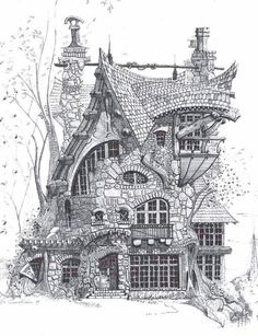 skizzieren – # architecture-desi… sketches – # architecture, though … Croquis Architecture, Architecture Design, Architecture Memes, Classical Architecture, Pencil Sketches Architecture, Famous Architecture, House Sketch, House Drawing, Fantasy House