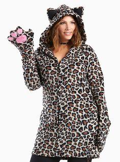 Leg Avenue Halloween Leopard Hooded Sweatshirt, LEOPARD
