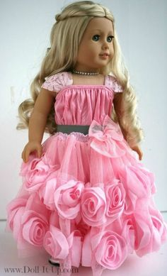 A lovely doll skirt made from a baby dress. There's a link to the tutorial.