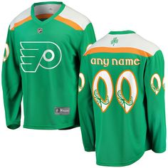 Green St. Patricks Day Philadelphia Flyers Jersey - Customized.  #philadelphiaflyers #nhl #stpatricksday. S, M, L, XL, XXL (2X), 3XL (3X).