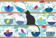 ARTFINDER: `Naughty Black Cat and fish (Hand-Cut... by Emma Bennett - This is the third hand-cut collage picture in a series of fun original pictures featuring a naughty black cat and a lot of fish.  (The first was so popular I...