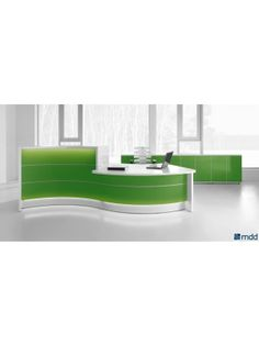 VALDE Countertop Curved Reception Desk, High Gloss Lime