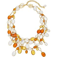 Loulou de la Falaise 24K Gold-Plated and Crystal Necklace ($2,900) ❤ liked on Polyvore featuring jewelry, necklaces, orange, orange jewelry, layered jewelry, gold plated jewellery, gold plated necklace and crystal jewellery