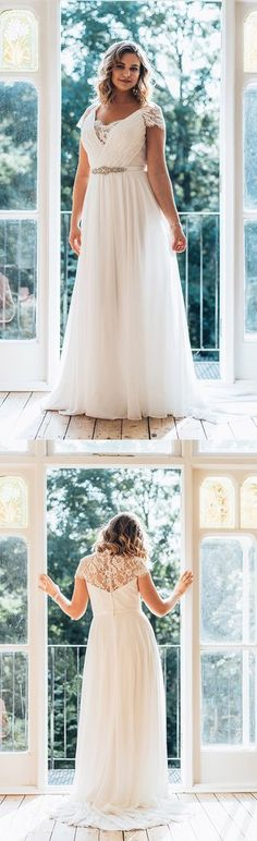 Plus Size V-Neck Short Sleeve A-Line Chiffon Wedding Dress with Brush Train-714720
