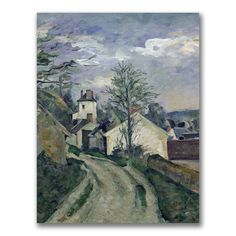 This ready to hang, gallery wrapped art piece features a landscape of a road and house. Paul Cezanne was a French artist and Post-Impressionist painter whose work laid the foundations of the transitio