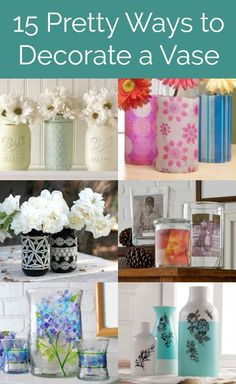 Make beautiful home decor decorate a vase! Get 15 ideas for simple DIY vase decorating techniques using various items and supplies including Mod Podge. Perfect for home decor holidays or for centerpieces (like wedding decorations! So easy and fun! Vase Crafts, Mason Jar Crafts, Mason Jar Diy, Bottle Crafts, Crafts To Sell, Crafts For Kids, Diy Crafts, Vases Decor, Centerpieces