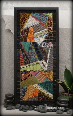 "Crazy Quilt by Chris Emmert, via Flickr Dimensional paint for decorative stitching.  11 1/2"" x 25 1/2"""