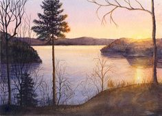 Lake Sunrise Original Watercolor Painting by by CathyHillegas