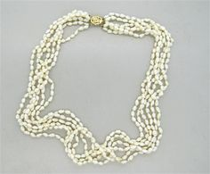 14k Gold Multistrand Pearl Necklace