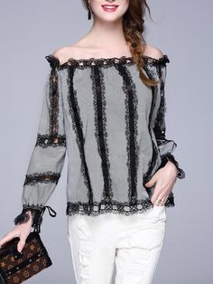 Shop Blouses - Casual Cotton Paneled Long Sleeve Blouse online. Discover unique designers fashion at StyleWe.com.