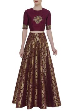 Buy Embroidered crop top with brocade work skirt by Ranian at Aza Fashions