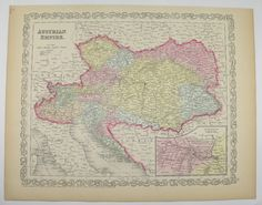 Antique Map Austria, Austrian Empire 1858 Mitchell Map, History Buff Gift for Him, Austrian Decor, Hungary Transylvania, Gift for Coworker available from OldMapsandPrints.Etsy.com #Austria #Hungary #OldMapsandPrints