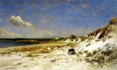 Wingaersheek Creek Beach, Gloucester, Massachusetts, huile sur toile de William Lamb Picknell (1853-1897, United States)