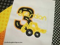 Boy's Personalized Birthday Shirt with Backhoe Design