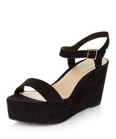 Black Suedette Ankle Strap Flatform Sandals  | New Look