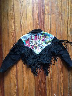 Vintage Leather Fringe Jacket by GraceTelephoneArt on Etsy