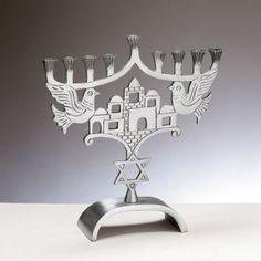 Menorah With Jerusalem And Jewish Star