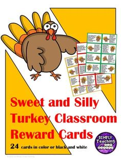 24 Sweet and Silly Turkey Classroom Reward Cards/Coupons in color and black and white allow your students to have some fun while celebrating success in November and at Thanksgiving time. These incentives will help motivate your students while they celebra Elementary Teacher, Elementary Schools, Teaching Ideas, Teaching Materials, Teaching Resources, Classroom Reward Coupons, Hello Teacher, Teacher Blogs, Holiday Activities