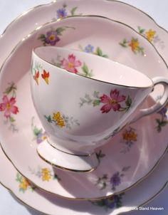 Pink Vintage Tuscan China Tea Set for six