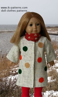 Idea only... Easy Coats & Hats Patterns for American Girl Doll. 18 inch doll clothes patterns #ikpatterns