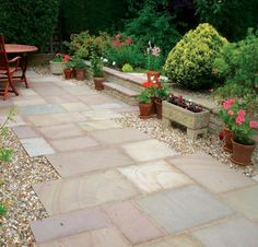 This riven natural sandstone paving has the beauty of real stone to add timelessly appeal for any garden patio. Creating a traditional look inspiring your garden design. Outdoor Paving, Garden Paving, Garden Paths, Garden Makeover, Patio Makeover, Backyard Plan, Backyard Landscaping, Backyard Patio, Landscaping Ideas