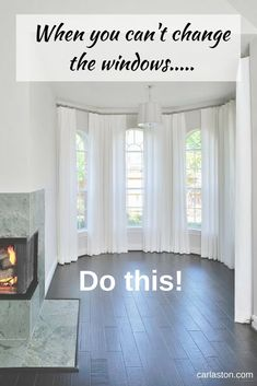 Let Window Treatments Hide Architectural Flaws And Cover The Top of Short Windows Window treatments can hide architectural flaws Bay Window Curtains Living Room, Curtains For Arched Windows, Dining Room Windows, Living Room Blinds, Arch Windows, Bay Window Curtain Rod, Window Blinds, Bathroom Curtains, Arched Window Treatments