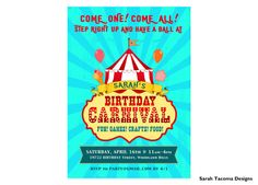 Vintage Carnival Circus Big Top Streetfair Birthday Party Invitation. Invite customized Printable by SarahTacomaDesigns
