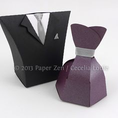 50 Shades Party Favor (Christian Grey's tie and Ana Steele's plum dress). Paper Zen: Bride Dress and Groom Tuxedo Party Favor Boxes.