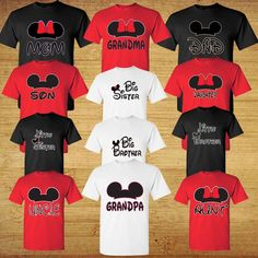Mom And Dad And Family Mickey Head Disney funny cute Grandma Grandpa T-Shirts t