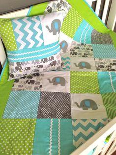 Elephant  Baby  Crib Quilt   and Cushion by AlphabetMonkey on Etsy, $235.00