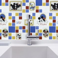 Bring the magic only Disney can create to your home with the Disney 11.75x11.75-inch Classic Multi Glass Mosaic Wall Tile. Classic Disney characters come together to give an old school Disney feel. Im