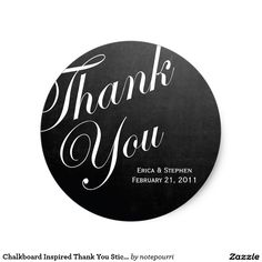 Chalkboard Inspired Thank You Sticker