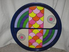Vintage Mid Century Danish Modern Nevco Bright Multi by SavvyFlair